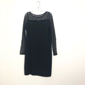 Eileen Fisher excellent condition dress black lace